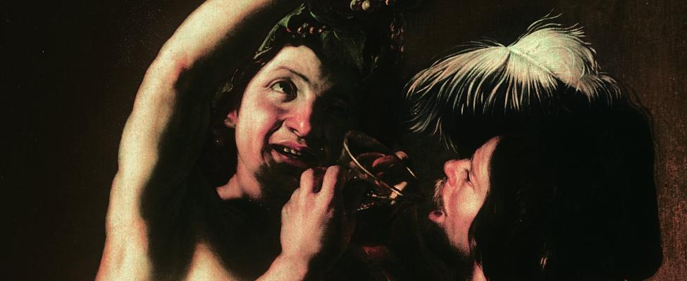 Bartolomeo Manfredi Bacchus et un buveur, vers 1621 Huile sur toile, 132 x 96 Ro