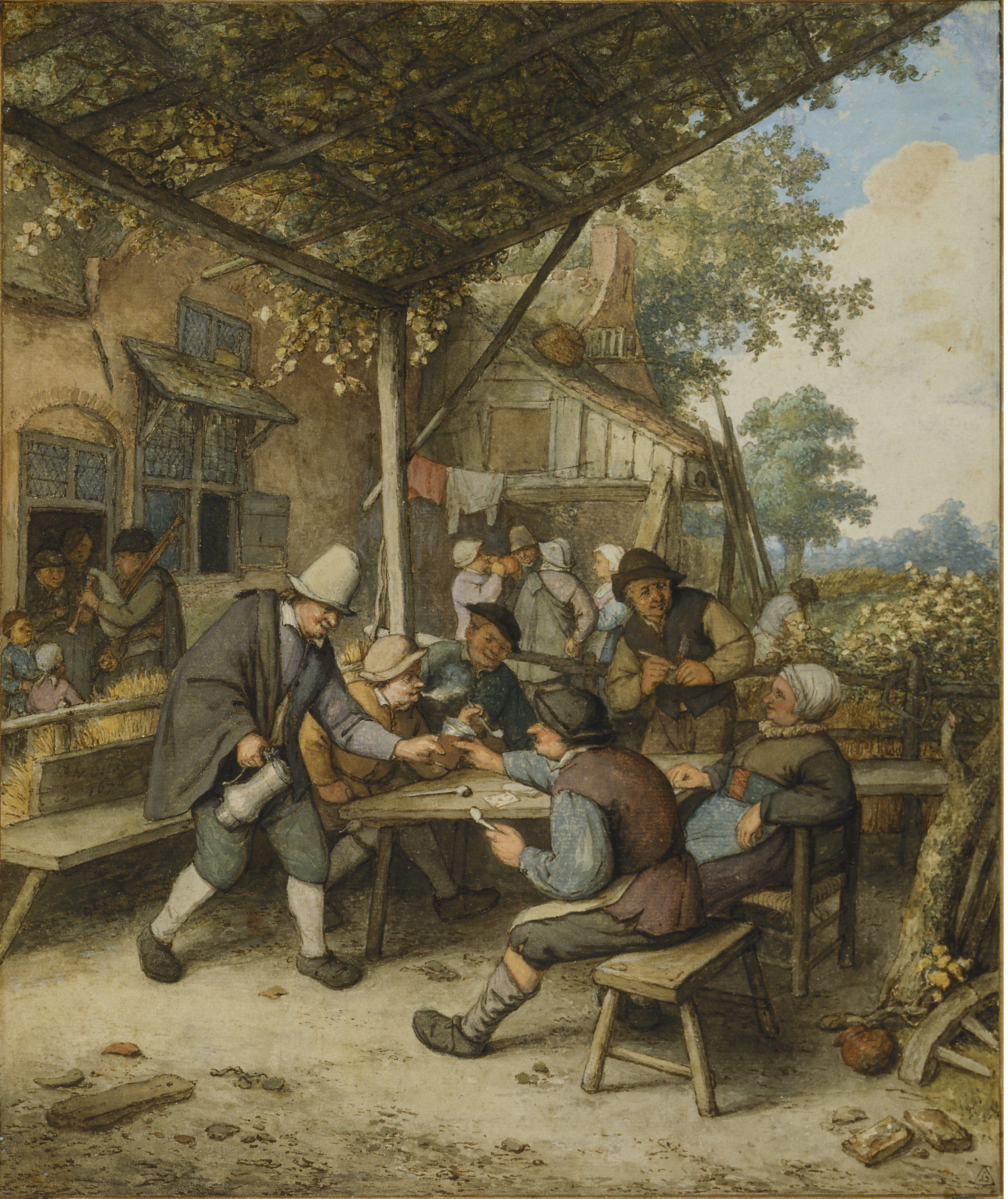 Smokers and drinkers at a table under a trellis - Adriaen van Ostade