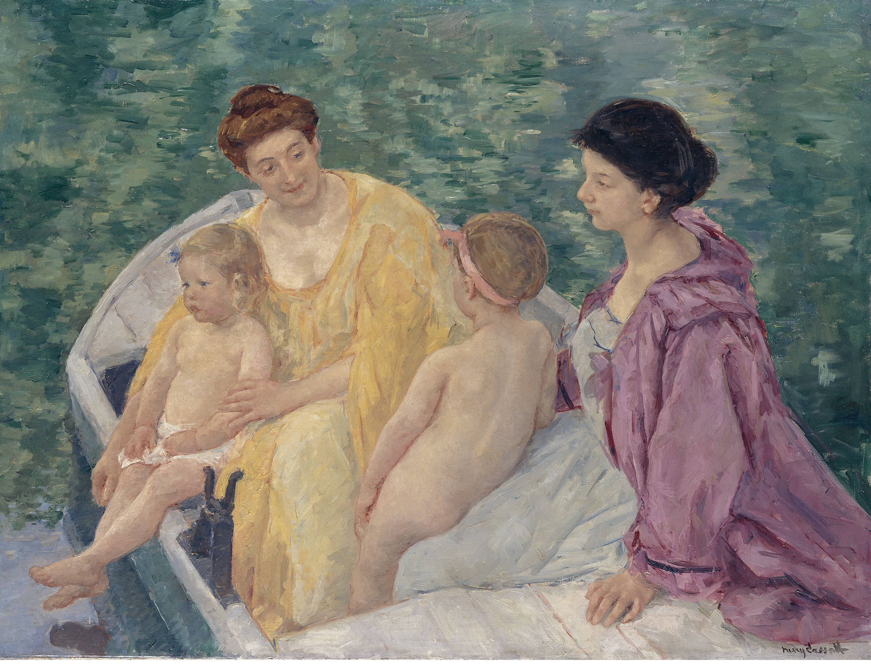 Mary Cassatt - Two mothers and their children in a boat