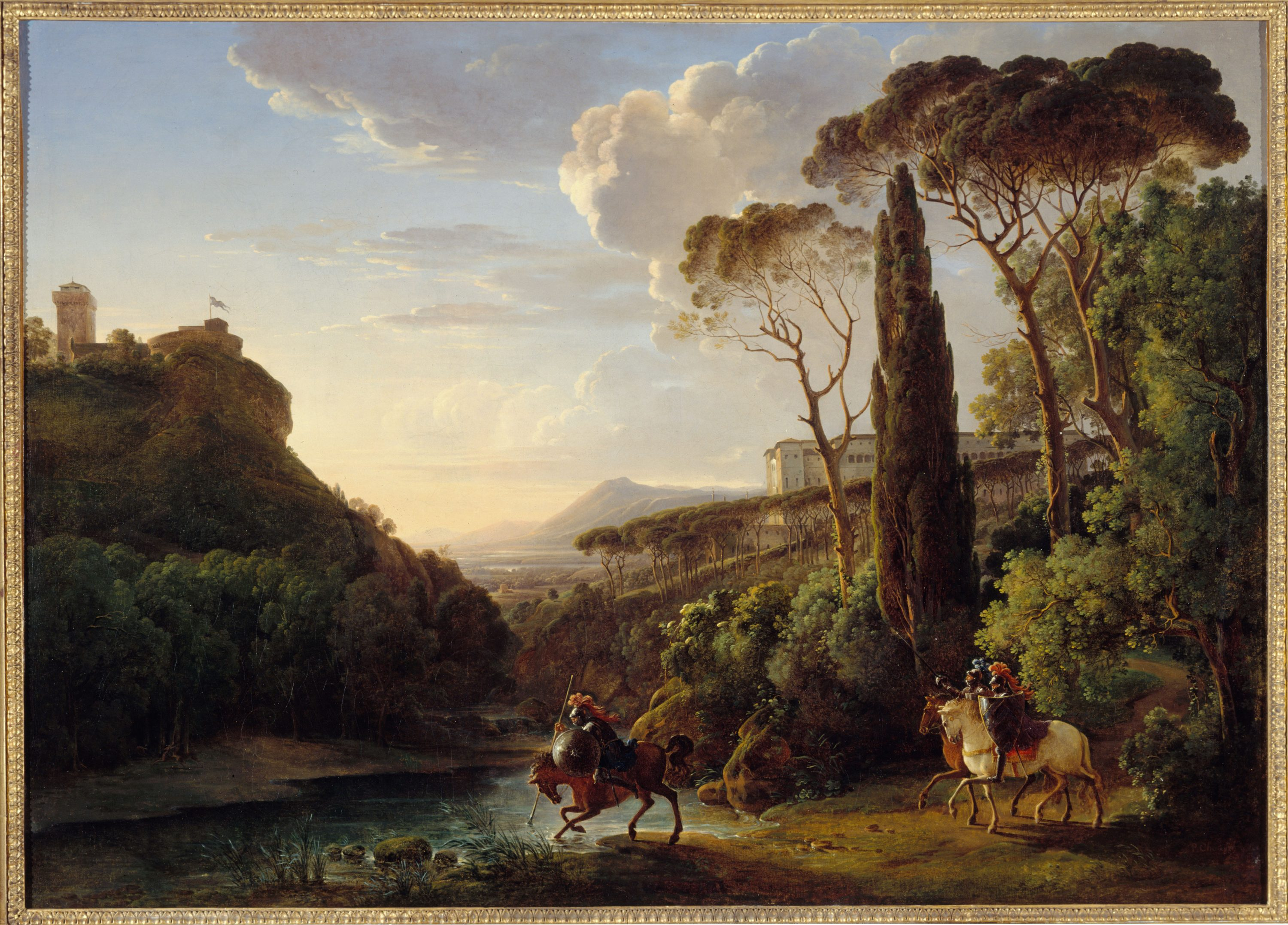 Pierre-Athanase Chauvin - Italian landscape with three knights