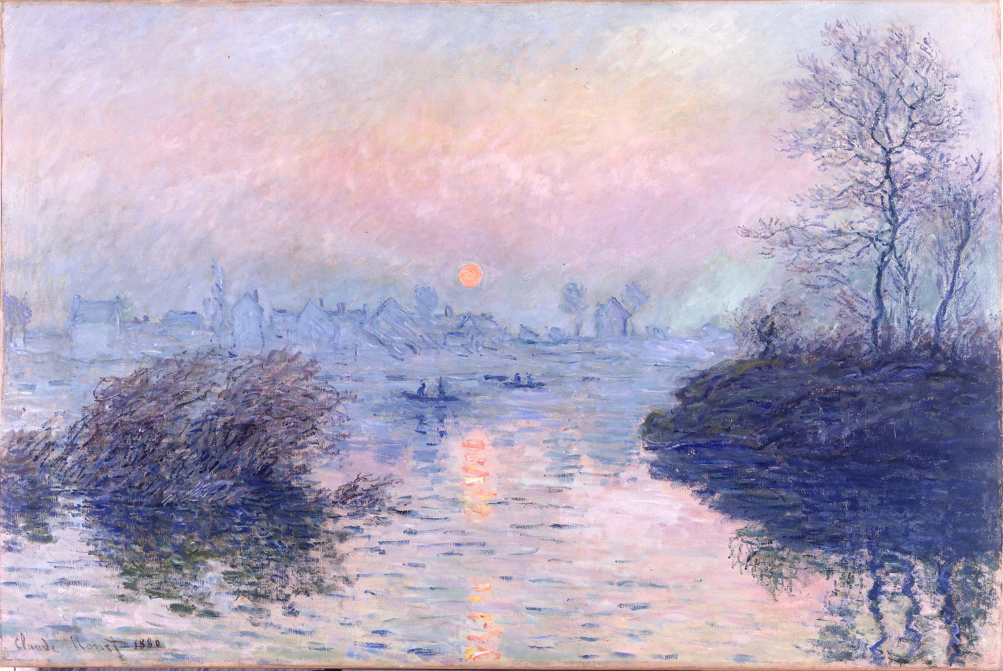 Claude Monet - Soleil couchant sur la Seine à Lavacourt, effet d'hiver