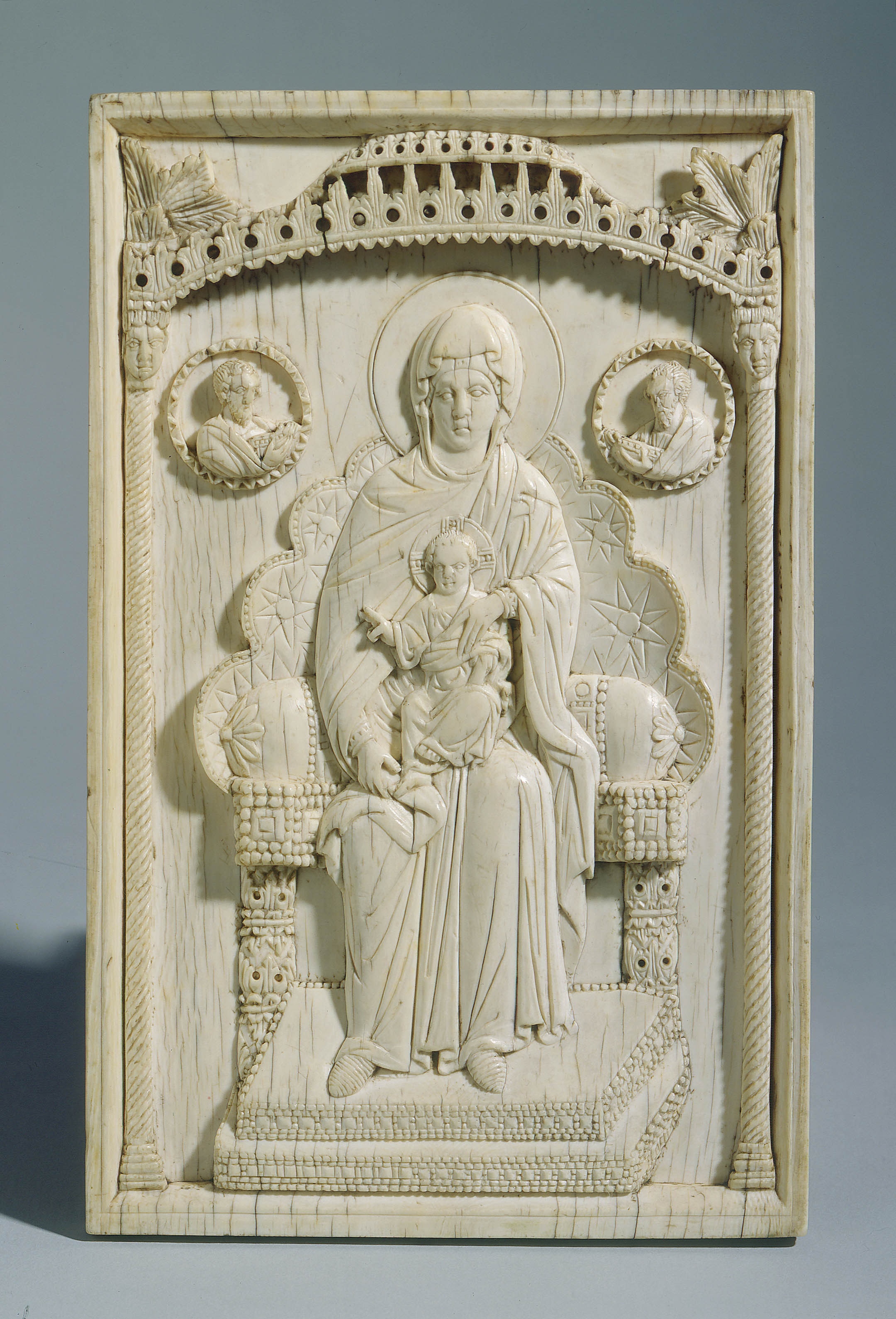 Anonymous - Ivory book cover plaque : the Virgin and Child enthroned