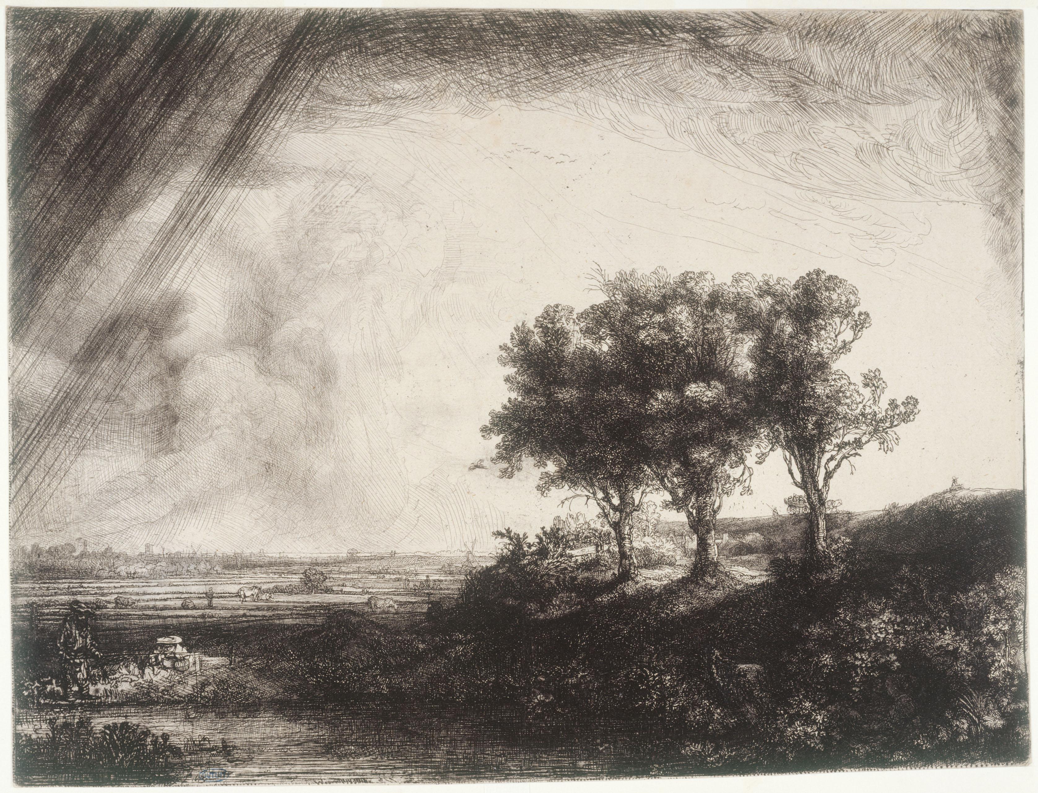 Les Trois Arbres - Rembrandt Harmensz Van Rijn