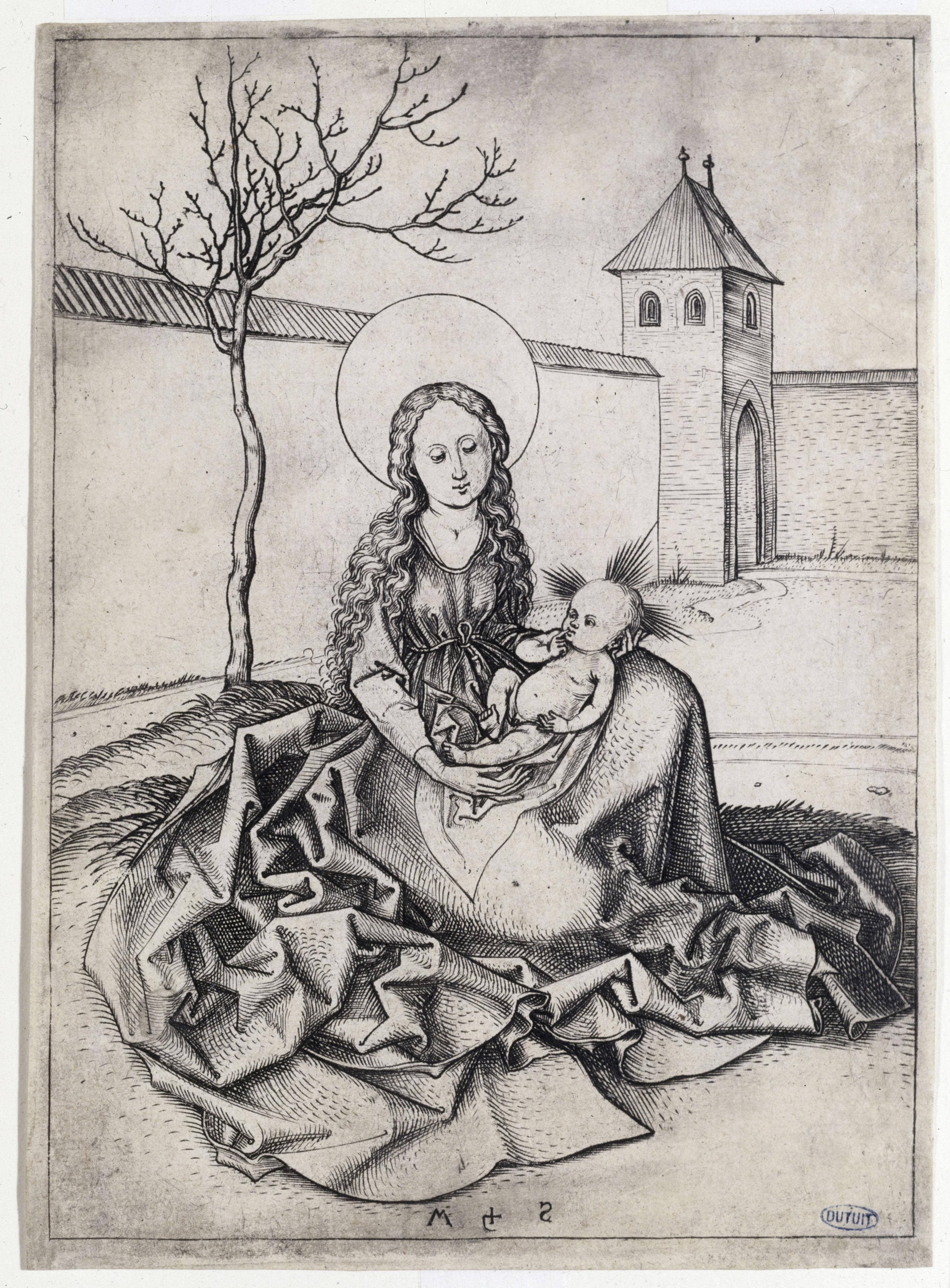 Martin Schongauer - La Vierge assise dans une cour