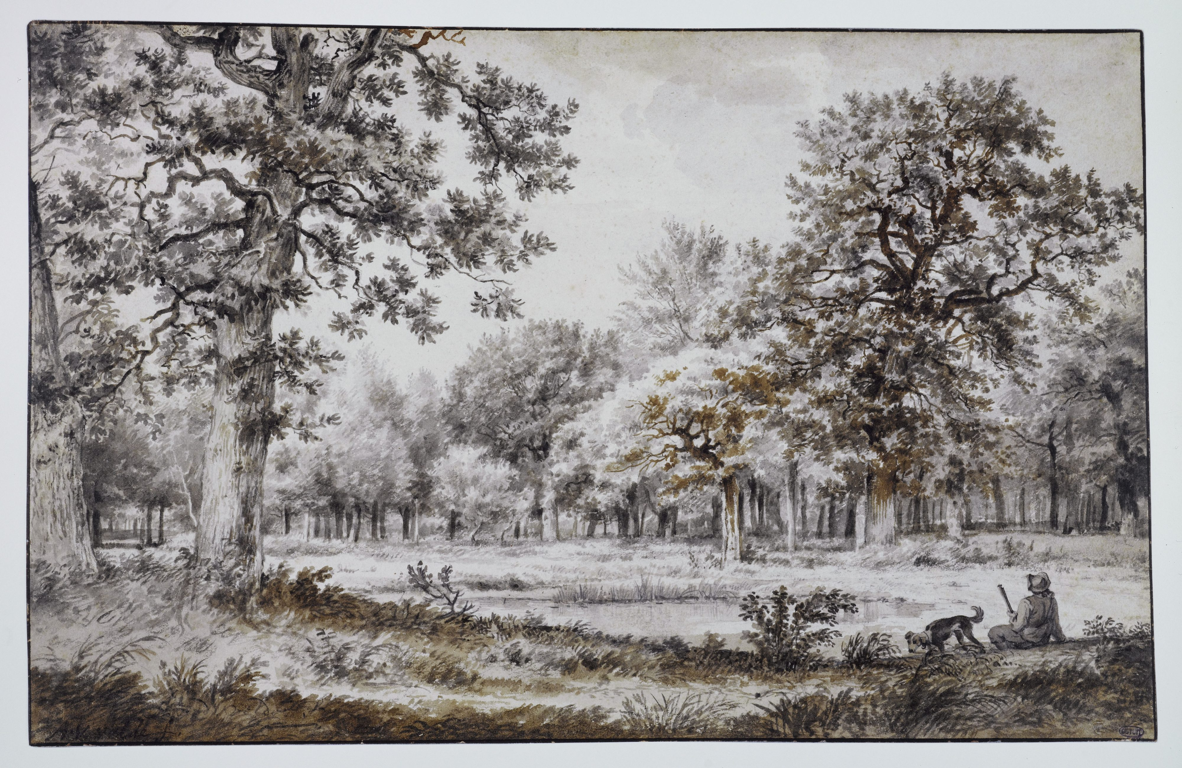 Adriaen van de Velde - Chasseur près d'un étang, dans une clairière