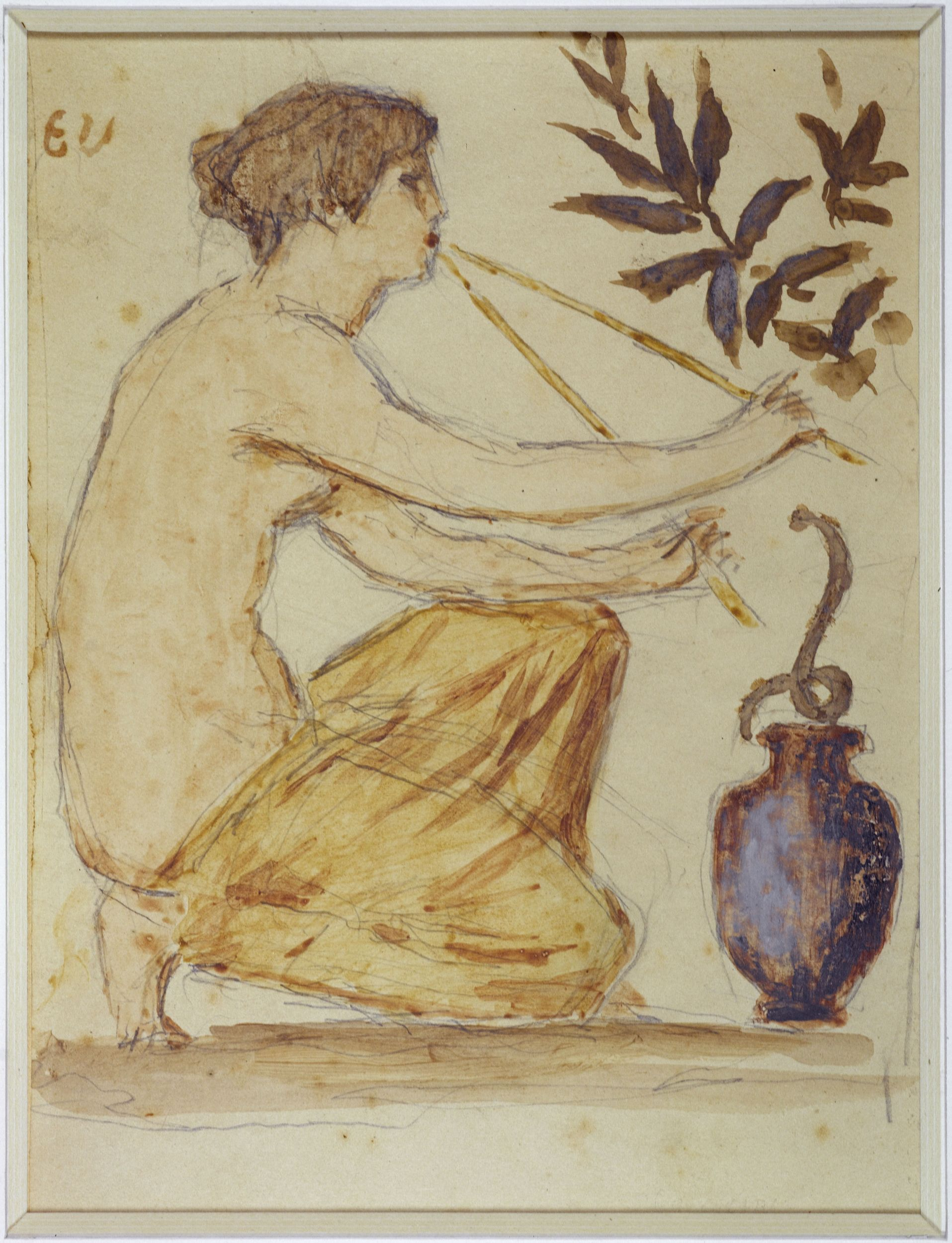 Henry CROS - Femme agenouillée, de profil, avec motifs floraux