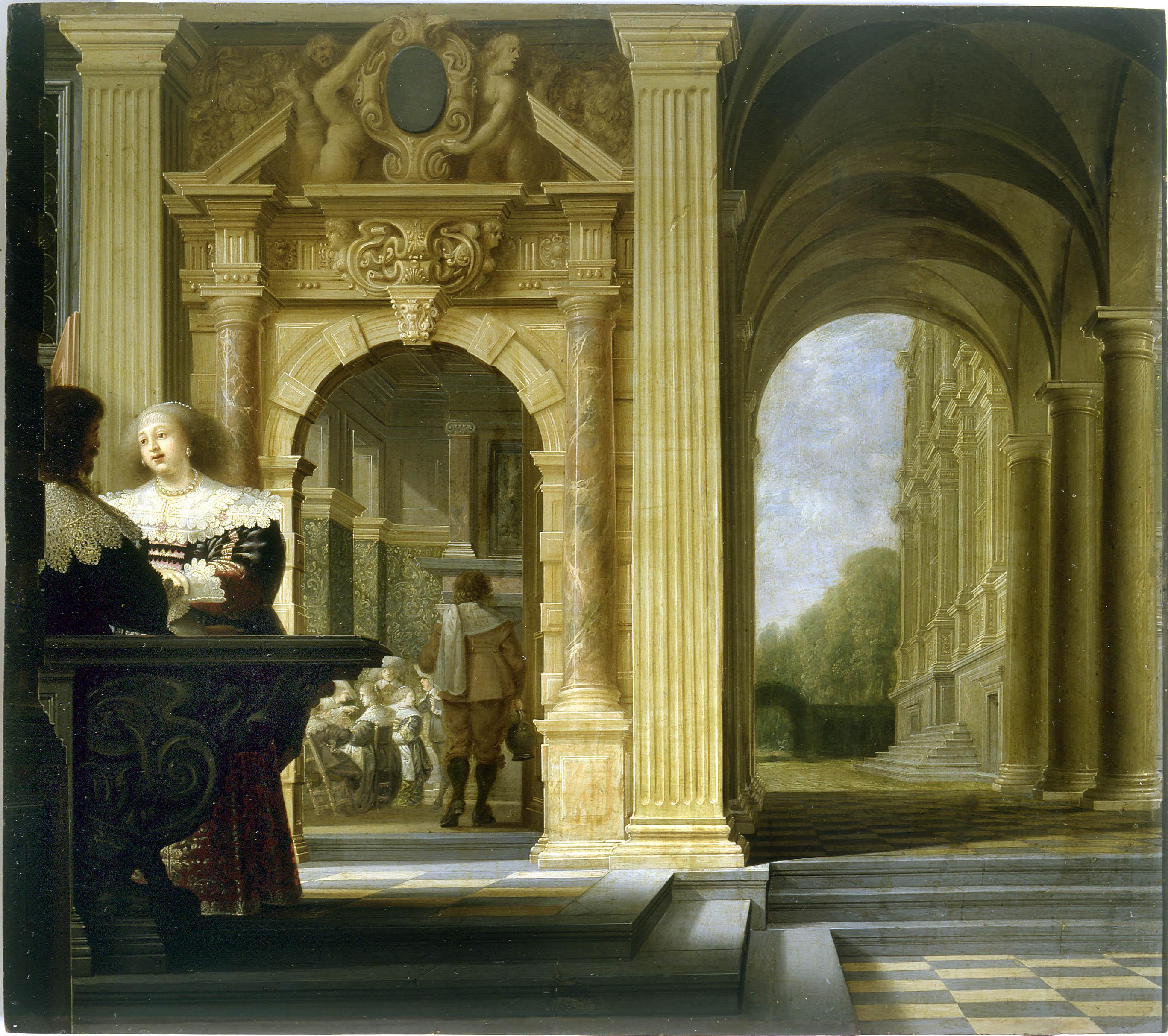 Dirck van Delen - A scene of gallantry in a palace