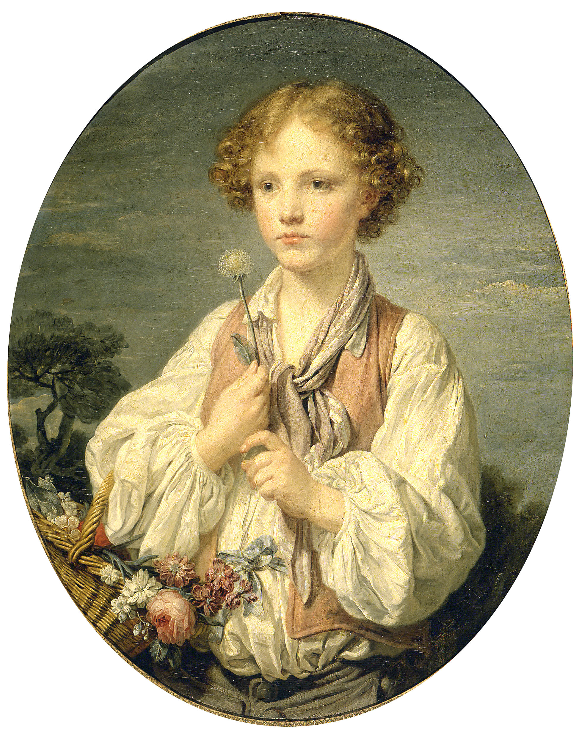 Jean-Baptiste Greuze - Young Shepherd Holding a Flower