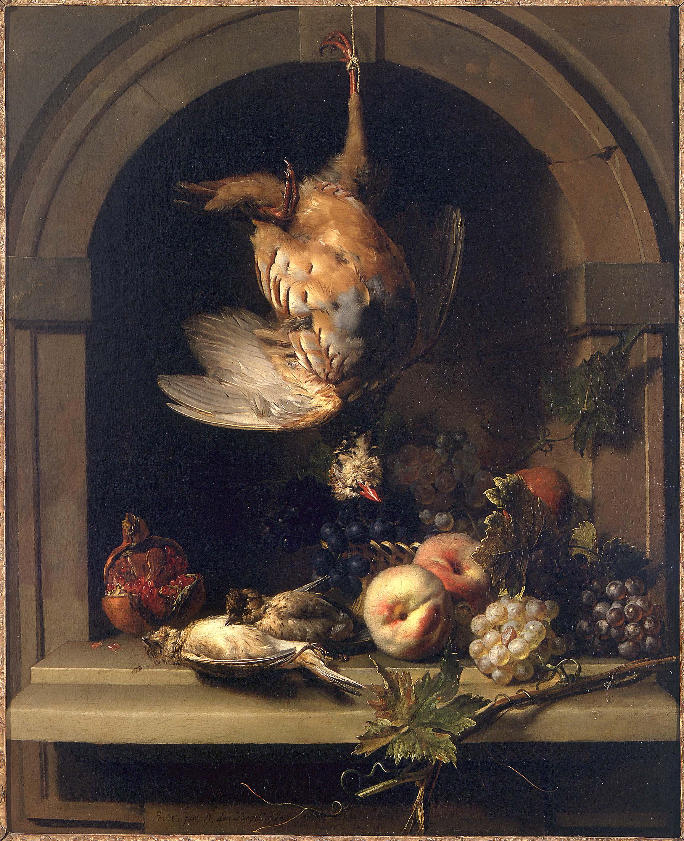 Nicolas de Largillierre - Perdrix rouge dans une niche