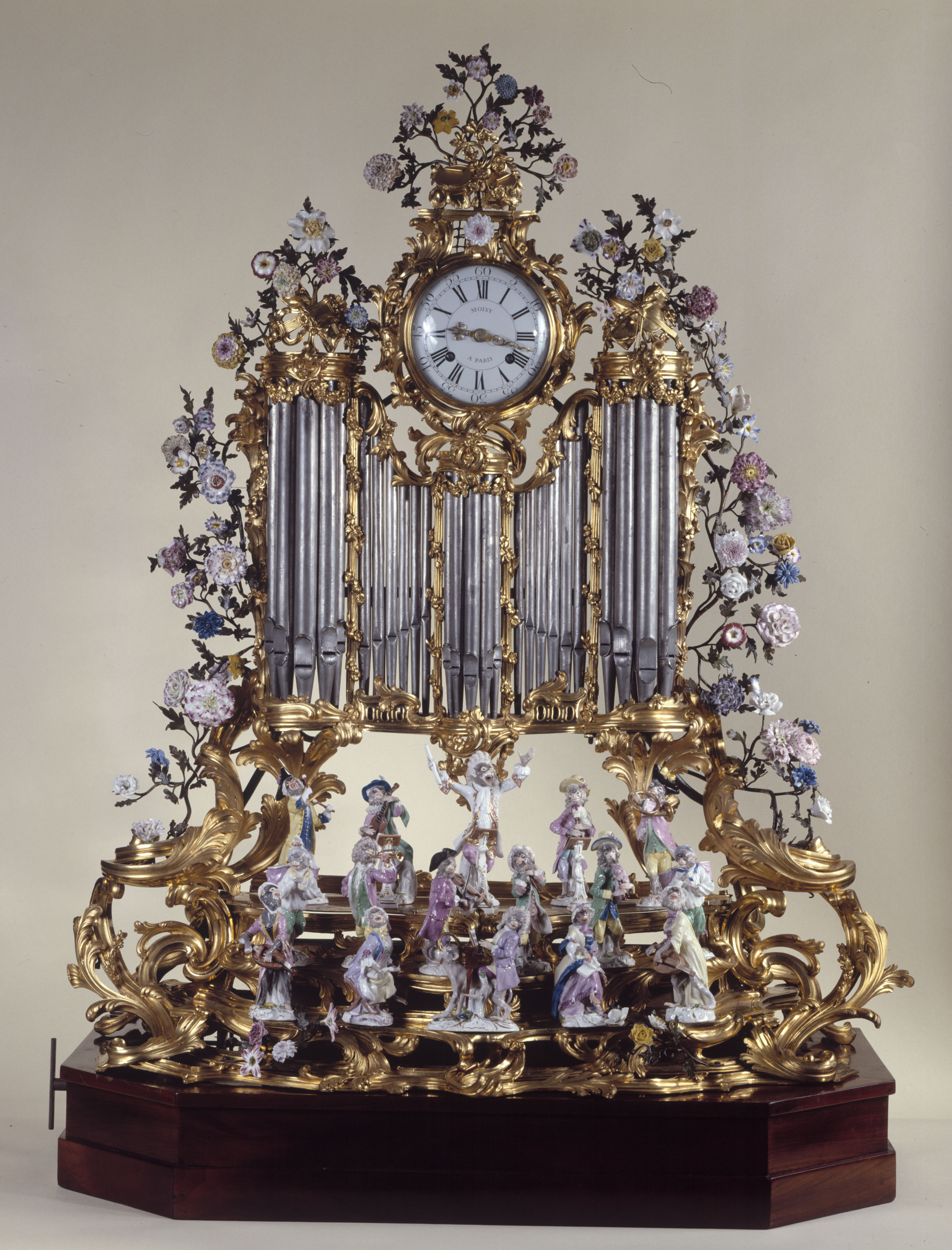 Moisy and Duplessis - Organ pipe clock with a monkey orchestra