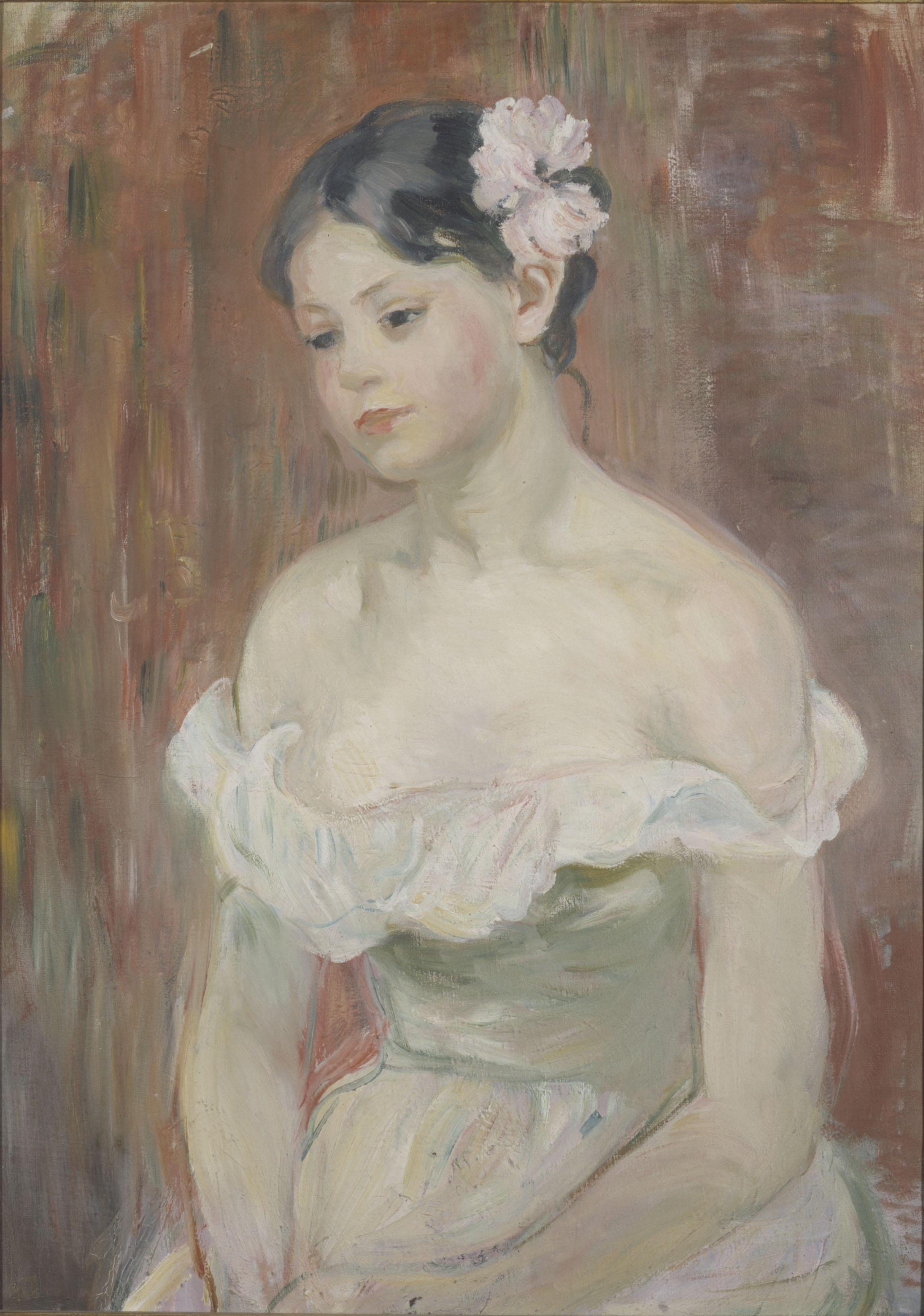 Berthe Morisot - Jeune fille en décolleté - La fleur aux cheveux, 1893