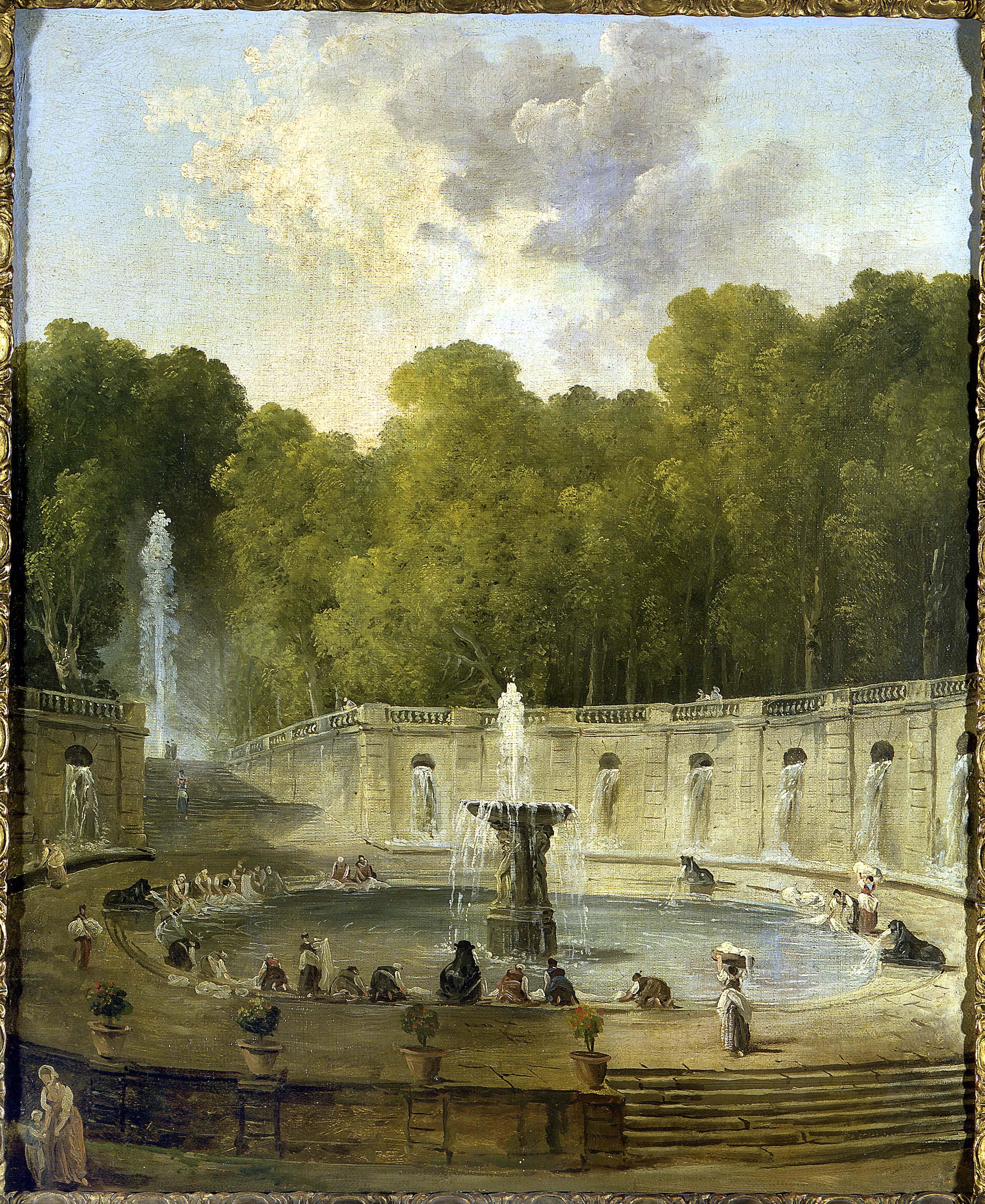 Hubert Robert - Lavandières dans un parc