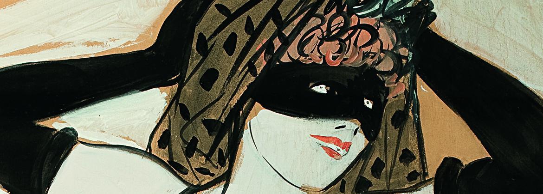 Femme avec Loup et gants noirs  - Jean Forain