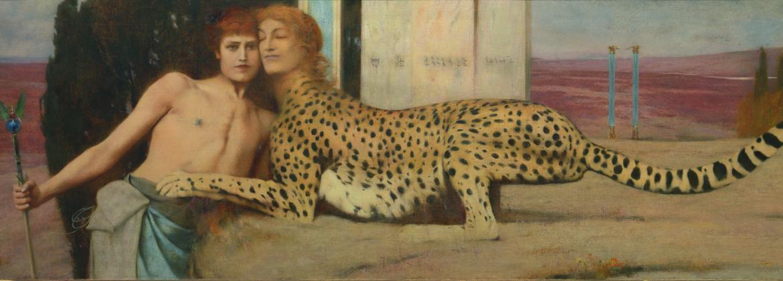 Fernand Khnopff, Des Caresses, 1896. Huile sur toile, 50,5 x 150 cm. Musées royaux des Beaux-Arts de Belgique, Bruxelles / Photo : J. Geleyns - Art Photography