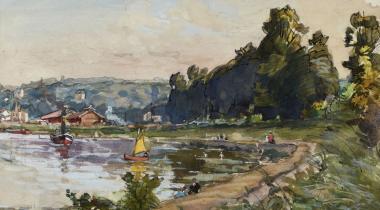Alexandre Nozal, La Seine en amont de Saint-Cloud, août , carnet de dessins 12, dessin n°1, PPD5660