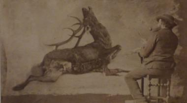 "Etienne Carjat - Gustave Courbet peignant ""L'Hallali du Cerf"""