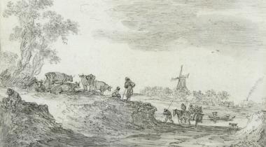 Van Goyen, Paysage de dunes avec un moulin, DDUT2190