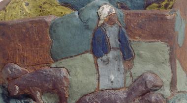 Jardinière avec bretonne et moutons