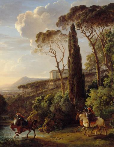 Paysage d'Italie avec trois chevaliers