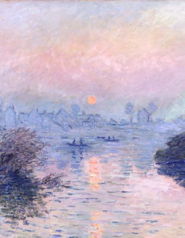 Soleil couchant sur la Seine à Lavacourt, effet d'hiver