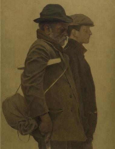 La Bouchée de pain : un vieil homme à béquilles et un jeune homme côte à côte