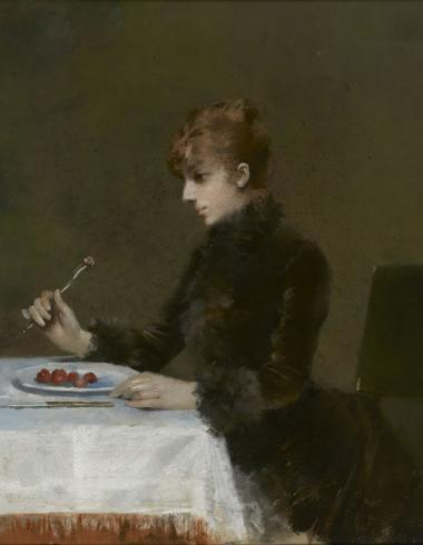 Louise Abbéma, Sarah Bernhardt à table, PPP5749
