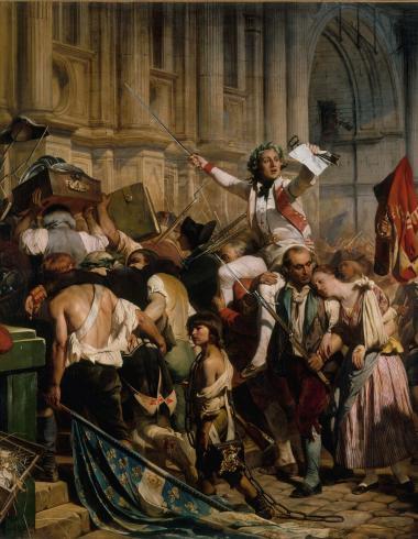 Les vainqueurs de la Bastille devant l'Hôtel de Ville, le 14 juillet 1789
