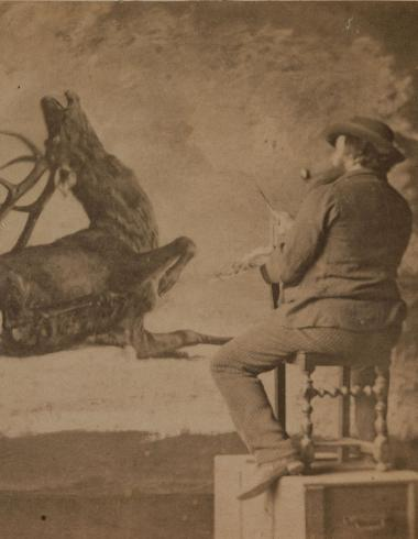 "Gustave Courbet peignant ""L'Hallali du Cerf"""