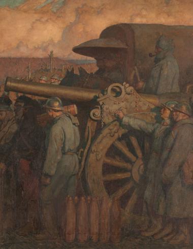 """Leroux, Volet droit du triptyque """"1918"""" ou Le Dernier communiqué"""