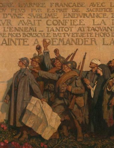 """Leroux, Panneau central du triptyque """"1918"""" ou Le Dernier communiqué"""