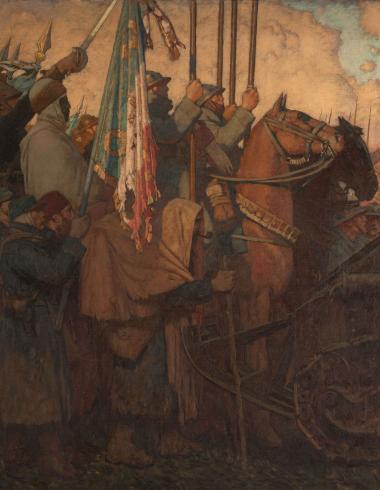 """Leroux, Volet gauche du triptyque """"1918"""" ou Le Dernier communiqué"""