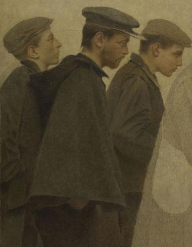 La Bouchée de pain : trois jeunes hommes de profil