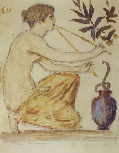 Femme agenouillée, de profil, avec motifs floraux