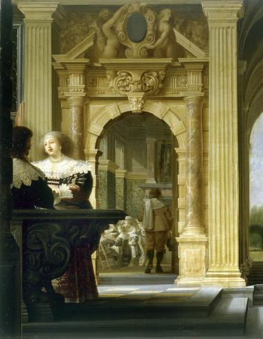 Scène galante dans un palais