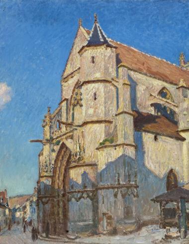 L'église de Moret (le soir)