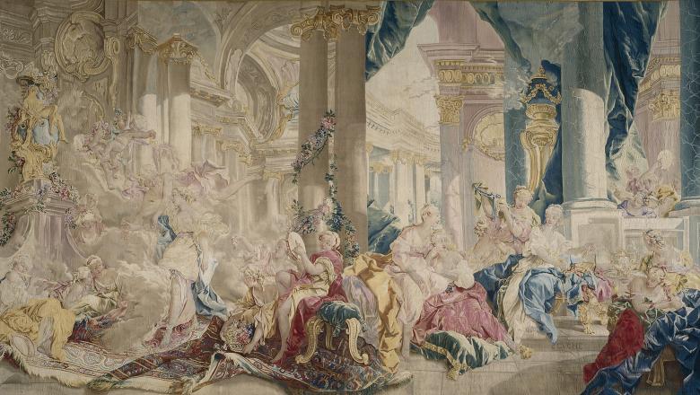 Tapisserie : Psyché conduite par Zéphyr dans le palais de l'Amour et Psyché montrant ses richesses à ses sœurs
