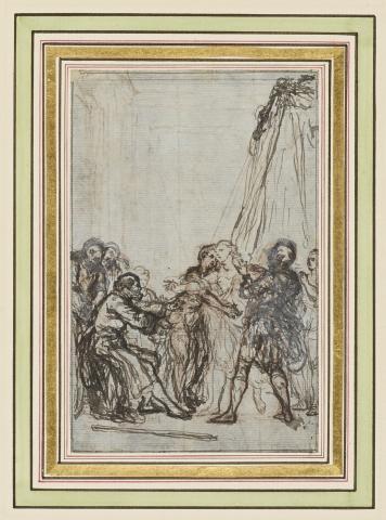 """Gravelot, Les Monstres ! Voilà sa récompense ! Première pensée pour l'illustration du chapitre VI du """"Bélisaire"""" de Jean-François Marmontel"""
