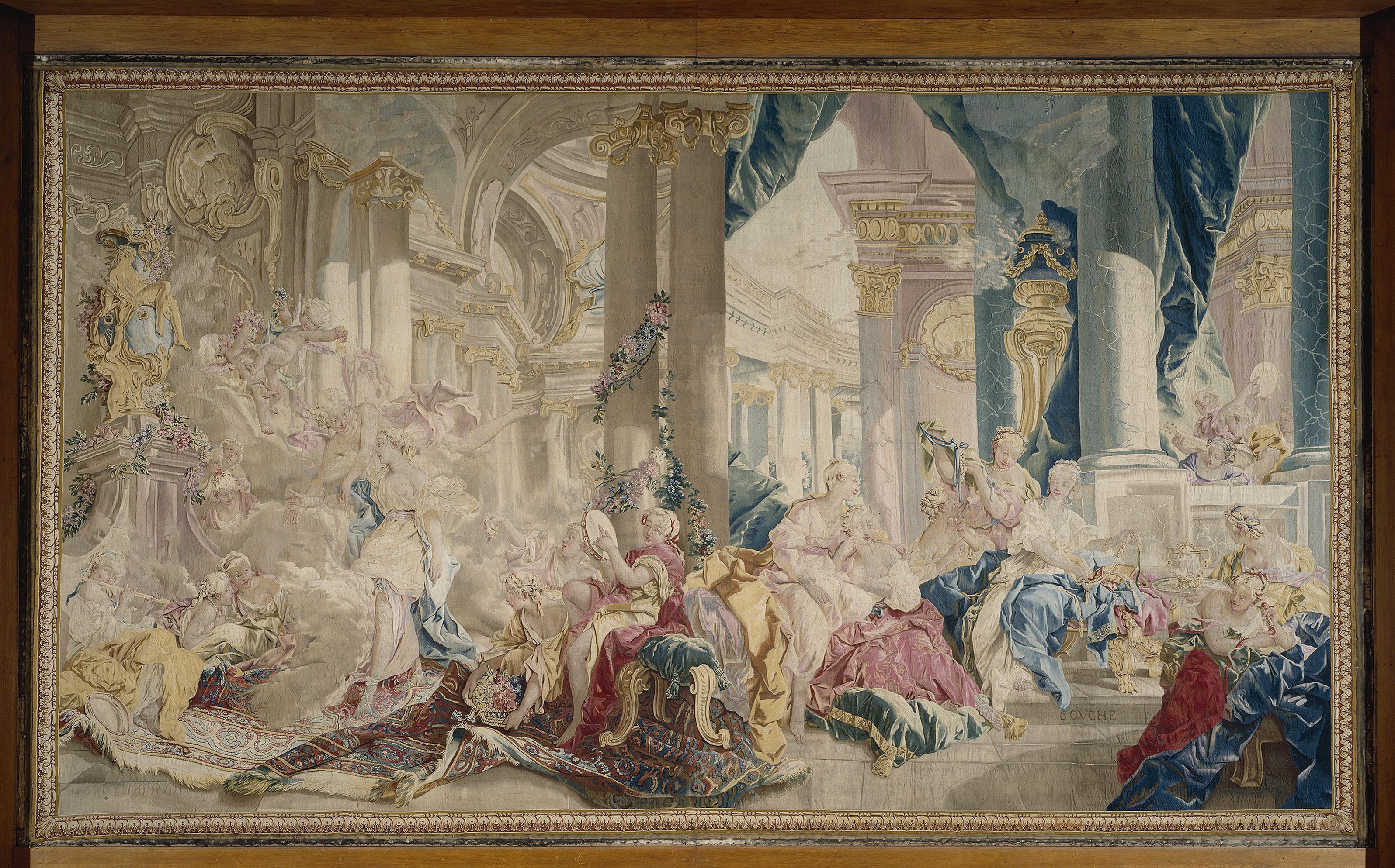Manufacture de Beauvais - Psyché conduite par Zéphyr dans le palais de l'Amour